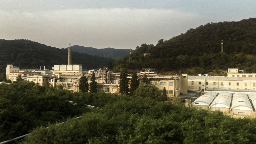 A view from the top of R&D building of the Ferrania campus located in the Val Bormida natural park. The factory was updated by 3M  to have zero impact on the environment. In the foreground the plant for the acetate support production.