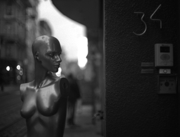 A mannequin on a street in Ghent, Belgium, shot on a Voigtlander Bessaflex TM and Tri-X