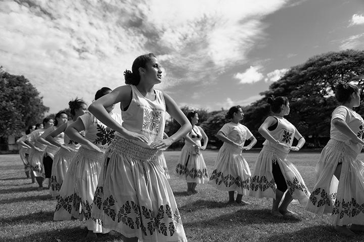 Members of Halau Na Mamo O Pu'uanahulu practice near Honolulu's Diamond Head.